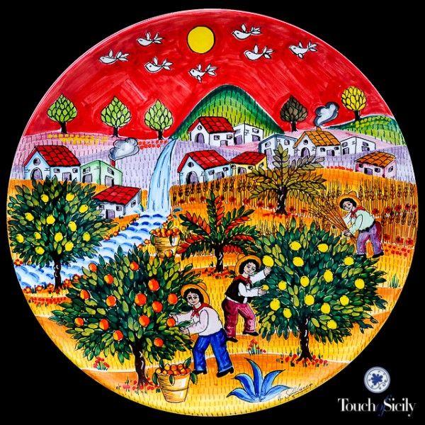 Italian Ceramics - Decorative Plate Picking Oranges