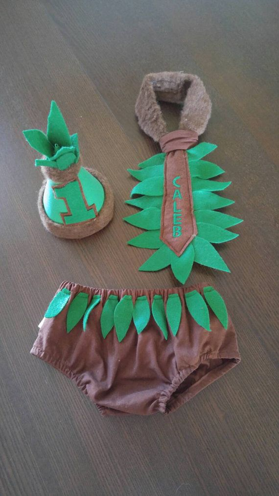 1st Birthday Cake Smash Outfit Jungle Safari Brown and Green for Baby Boy