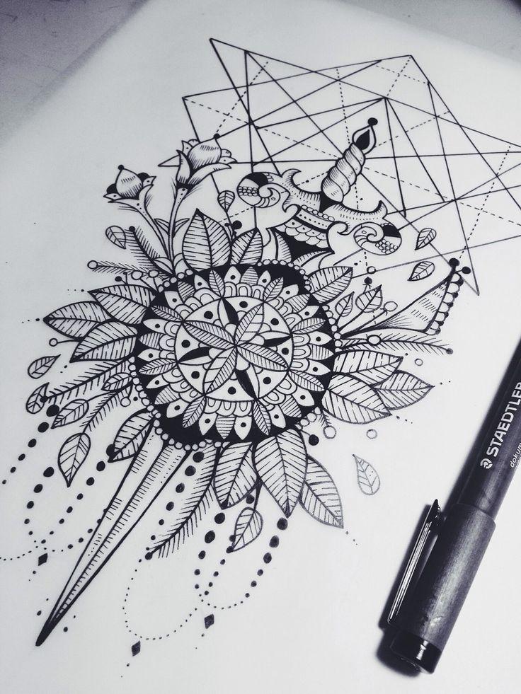 Death before dishonor Sword Mandala Geometric Tattoo Design (Unknown Artist) <3