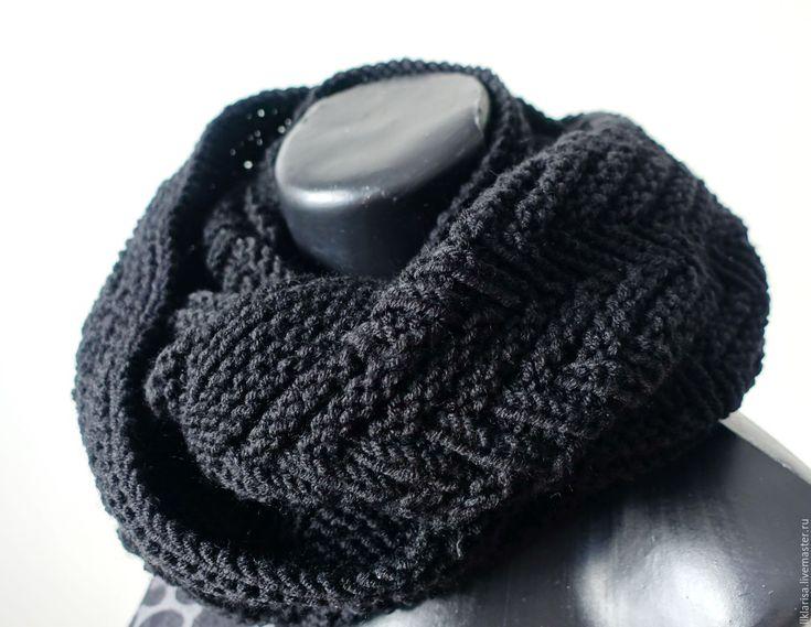 Купить мужской снуд, шарф-снуд - черный, однотонный, шарф вязаный, шарф-снуд, аксессуар