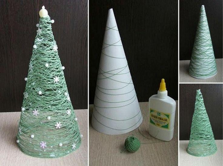 weihnachtsdeko selber basteln tannenbaum papier trichter schnur gruen