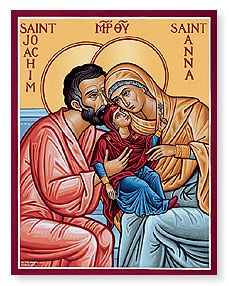 Sts. Joachim Anna Icon, parents of the Virgin Mary, embracing Mary as a child.