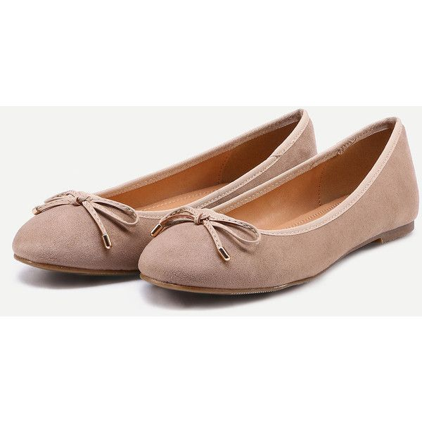 SheIn(sheinside) Faux Leather Bow Tie Ballet Flats - Brown ($7.99) ❤ liked on Polyvore featuring shoes, flats, ballet shoes, brown flats, brown flat shoes, pointed toe ballet flats and pointed toe bow flats