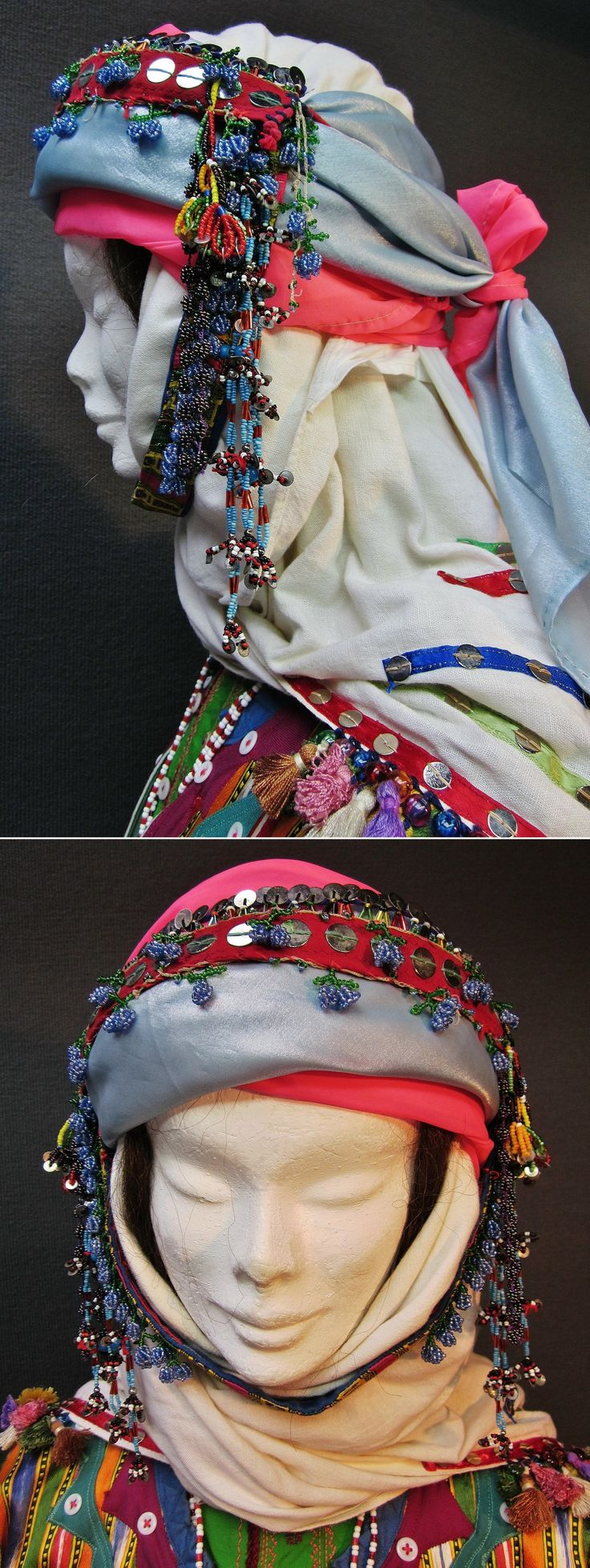 Traditional festive headgear of an Üsküdarlı Tahtacı woman, from the Bergama region.  Consisting in a large white headscarf (adorned with coloured ribbons, metallic sequins, glass beads & silk tassels), two smaller scarves, a forehead band, a chin band and temple ornaments; the latter three are adorned with metal sequins and/or glass beadwork.  Clothing style: ca. 1970. The Tahtacı are Alevi Türkmen.  (Kavak Costume Collection - Antwerpen/Belgium).