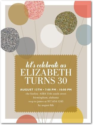 Adult Birthday Party Invitations - Alluring Balloons by Tiny Prints