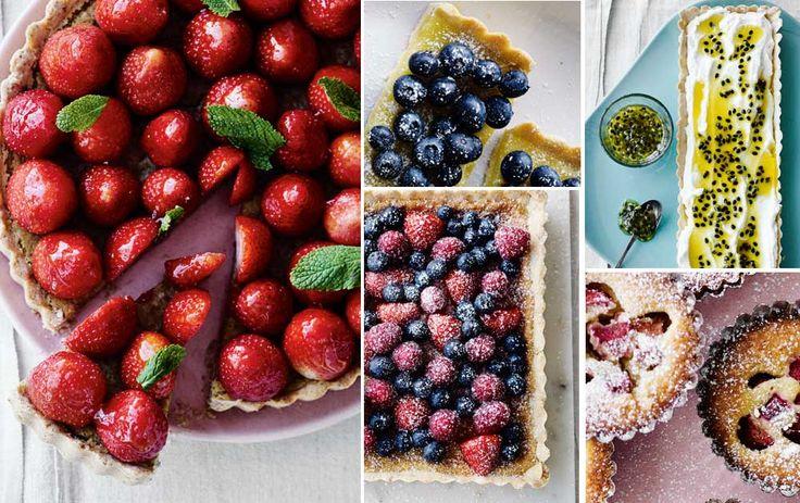 Lækre tærter med bær og frugt