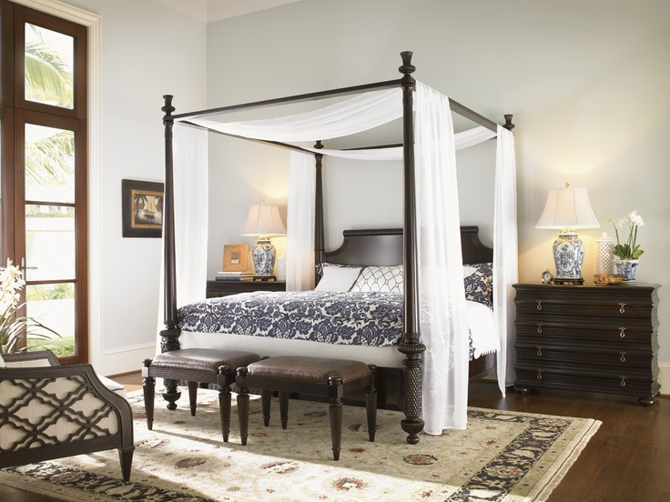 Royal Kahala Diamond Head King Bed, Black Sands Night Chest And Tidal Pool  Bed Bench