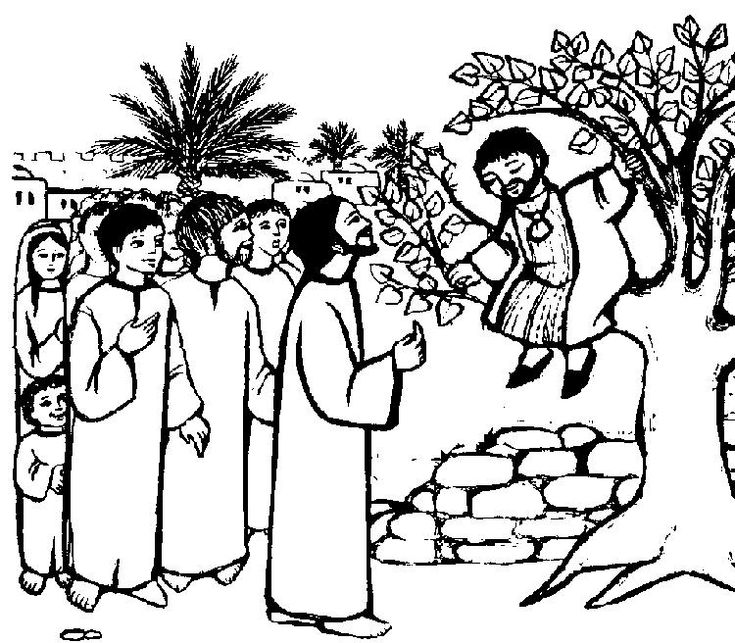 Jesus And Zacchaeus Coloring Pages Printable   Zacchaeus ...