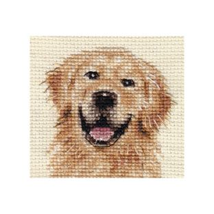 "Golden Retriever DOG Complete Cross Stitch KIT | eBay. size: approx 2.5 "" x 2.5"" / 6.5 x 6.5cm. 14 count Zeigart aida fabric Pre-sorted Anchor embroidery threads Needle Easy to read b/w symbol chart and full sewing instructions N.B. Not recommended for children under 7 years of agehttp://www.ebay.com.au/itm/GOLDEN-RETRIEVER-dog-Complete-cross-stitch-kit-/280718594943?pt=UK_Collectables_AnimalCollectables_SM=item415c21d37f"