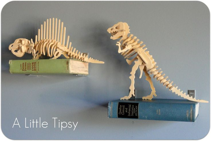 From All for the Boys via A Little Tipsy.  Love love this shelf / dino idea!