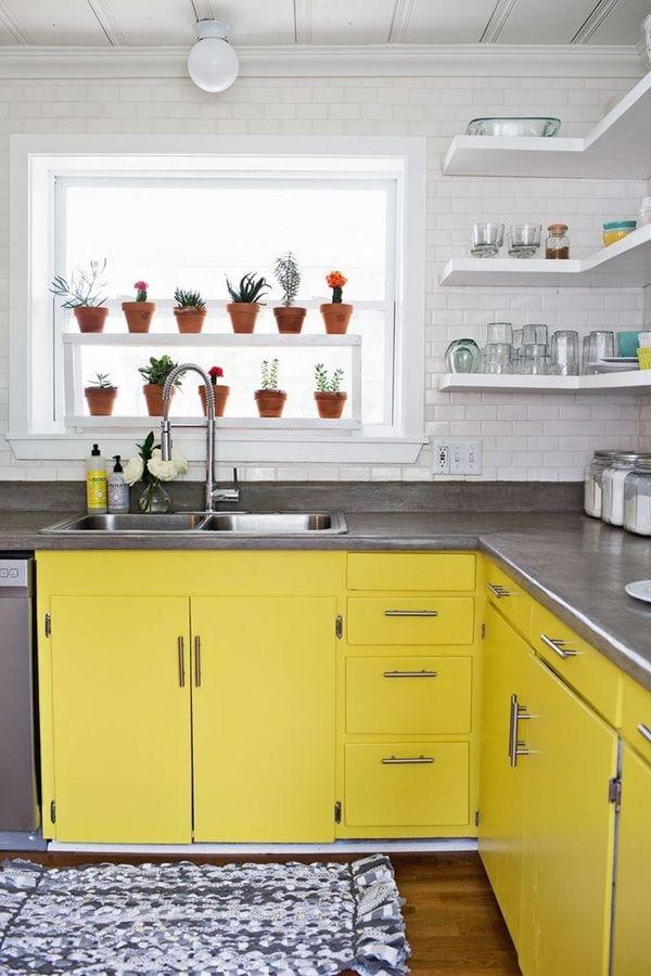 #Plantas en la cocina. Muebles amarillos. #Decoración