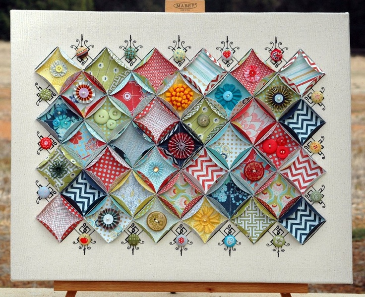 punched circle with sides folded up and embellished...neatPaper Art, Paper Quilt, Basicgrey, Canvas, Scrapbook Paper, Basic Grey, Paper Crafts, Cards, Cathedral Windows