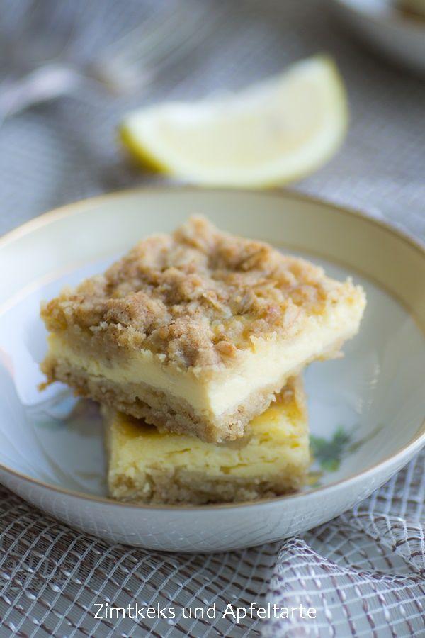 Zitronige Cheescake-Schnitten mit chrunchy-Streuseln… lecker fruchtig und schnell gemacht