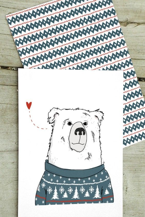 """Christmas Cards from the """"Humming in winter woodland"""" collection by Christina Heitmann. Winter Bear / Bear Tunes #christmas #cards #christmascards #bear #woodland #nordic #nordicdesign #illustration #illustrator #heart #love #cute #animal #wildanimals #nordicanimals #pattern #christmasgreetings #greetings #shop #holidaygreetings #winter #winterbear"""