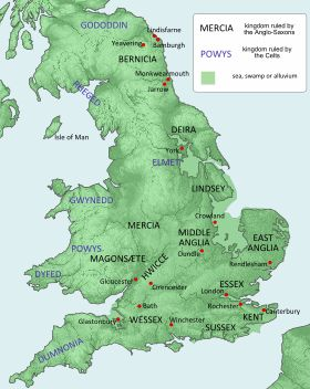 Anglo-Saxons - A political map of Britain c650 (the names are in modern English)