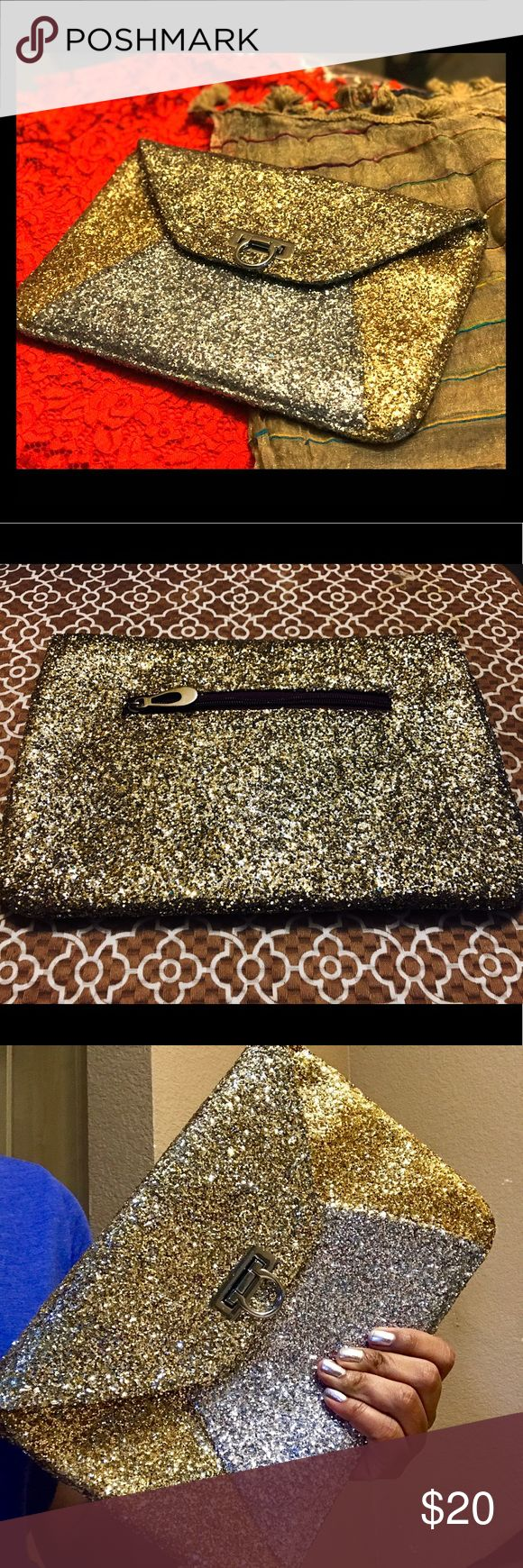 Indian Big glitter party clutch ❤️ ⭐️BLACK FRIDAY SALE⭐️ Brand new! Never used it! Handmade glitter clutch 👛 perfect for party, Christmas, new year eve, or any festivals, and prom🎉🎊 Boutique by Indo-western Bags Clutches & Wristlets