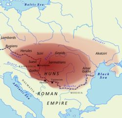 370s–469 The Hunnic Empire under Attila.  Throughout their raids on the Eastern Roman Empire, the Huns had maintained good relations with the Western Empire, and in particular with Flavius Aetius, a powerful Roman general. However, this all changed in 450 when Honoria, sister of the Western Roman Emperor Valentinian III, sent Attila a ring and requested his help to escape her betrothal to a senator. Attila claimed her as his bride and half the Western Roman Empire as dowry.