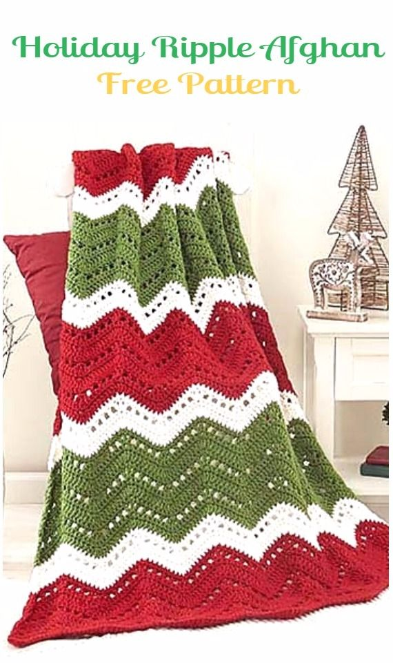 Crochet Holiday Ripple Afghan BlanketFree Pattern - Crochet Christmas Blanket Free Patterns