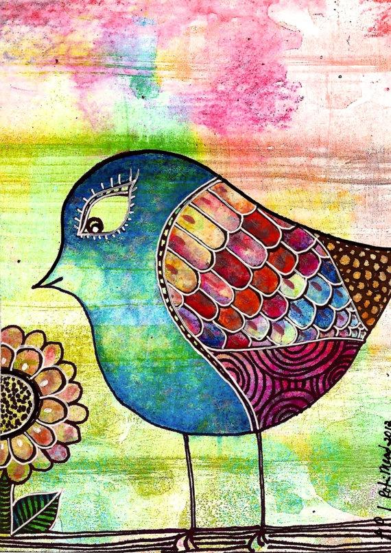 Giclee on wood block  5 x 7 bird flower by RobinMeadDesigns, $15.00