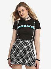 Tripp Black & White Plaid Suspender Skirt,