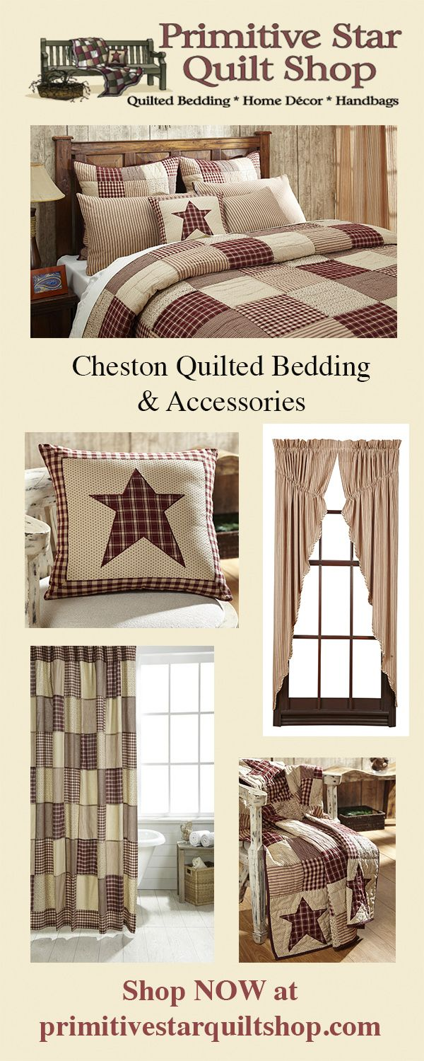 Our Cheston quilt collection is sure to give your bedroom the primitive country makeover you have been wanting! Made from burgundy and creme vintage prints, plaids and ticking stripes, the large patchwork blocks are a stunning combination. Check out the entire Cheston collection found exclusively at Primitive Star Quilt Shop. https://www.primitivestarquiltshop.com/collections/cheston-bedding