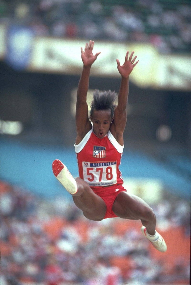 Jackie Joyner-Kersee - long jump at the 1988 Seoul Olympics. She won the gold, setting an Olympic record of 7.40 meters.