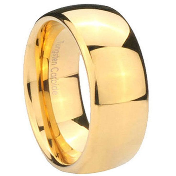 10mm tungsten carbide 14k gold ip dome men bands ring