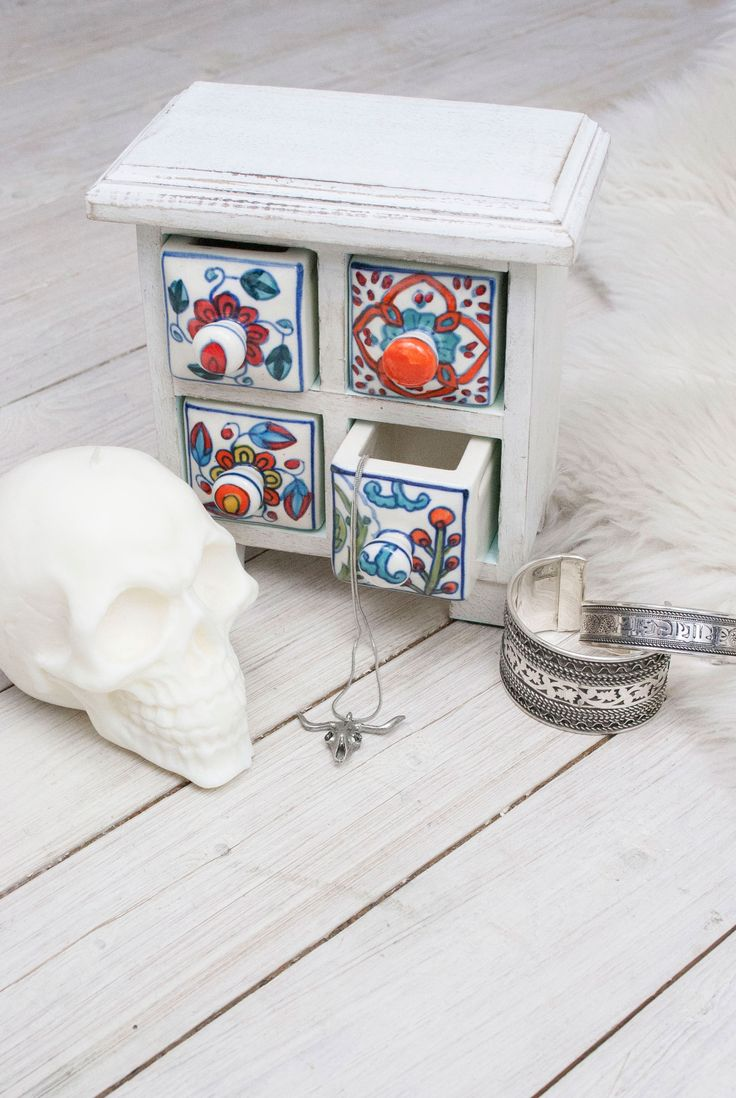 Bleached Ceramic Drawer Trinket Box #gypsy #boho #Bohemian #style #home #homeware #skull #skulls #candles #white #ceramics #handpainted #painted #inspo