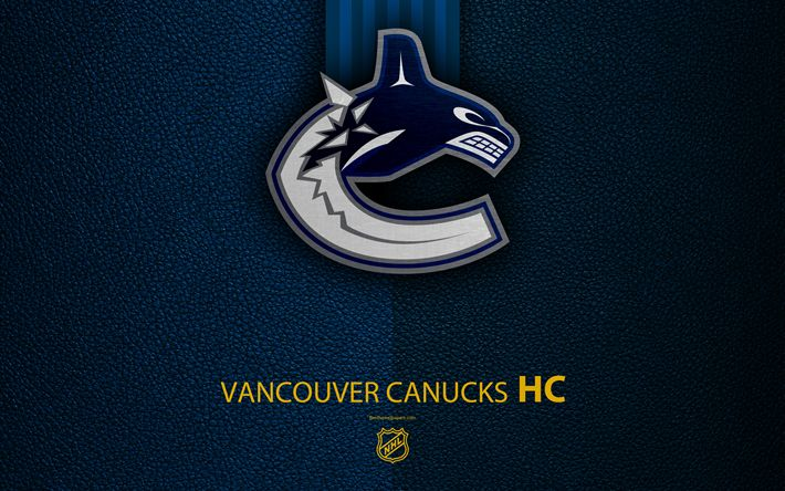 Download wallpapers Vancouver Canucks, HC, 4K, hockey team, NHL, leather texture, logo, emblem, National Hockey League, Vancouver, British Columbia, Canada, USA, hockey, Western Conference, Pacific Division