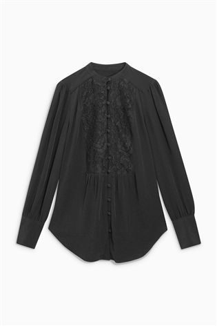 Buy Black Lace Bib Blouse from the Next UK online shop