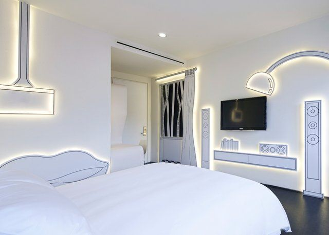 Cartoon hotel room in the very cool Wanderlust Hotel in Little India, Singapore