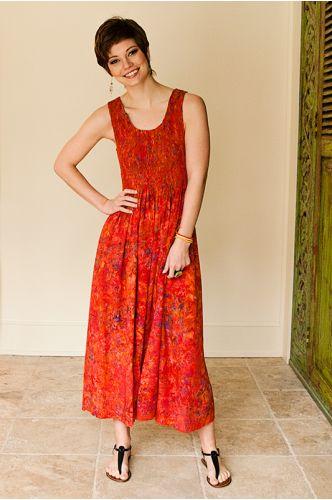 Cabana Batik Maxi Dress | Indonesia | orange batik dress | shopgofish.com