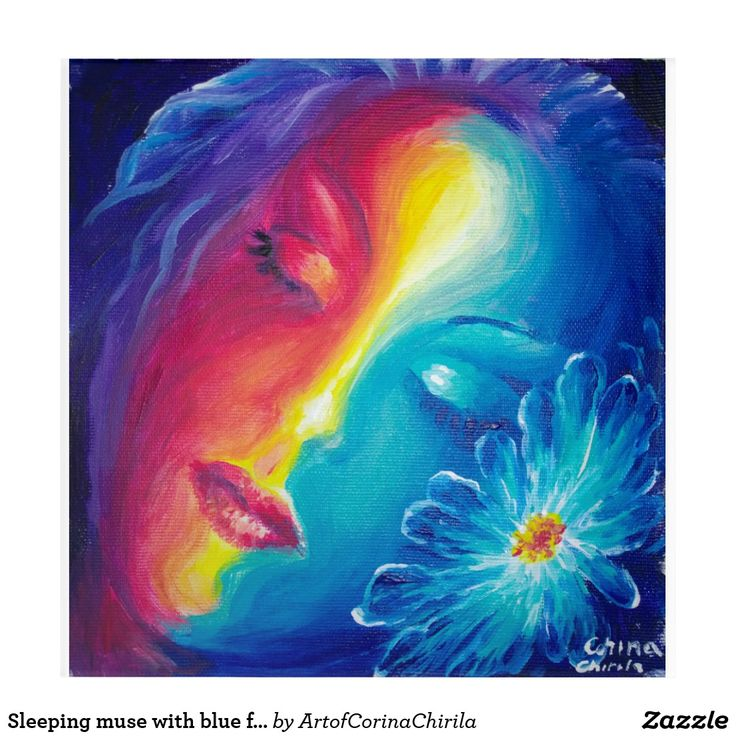 Sleeping muse with blue flower acrylic wall art