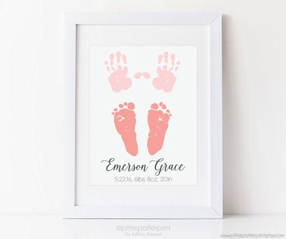 Baby Handprint & Footprint Birth Announcement by PitterPatterPrint