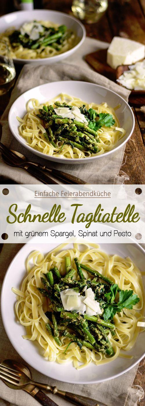 Tagliatelle mit grünem Spargel, Spinat und Petersilienpesto