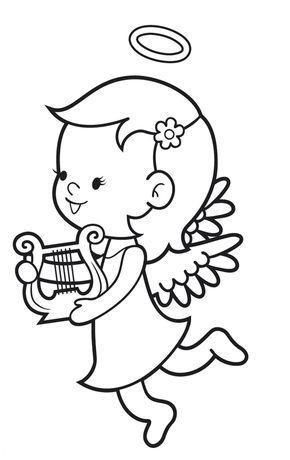 Ausmalbild Engel: Kostenlose Malvorlage: Engel mit Harfe kostenlos ausdrucken