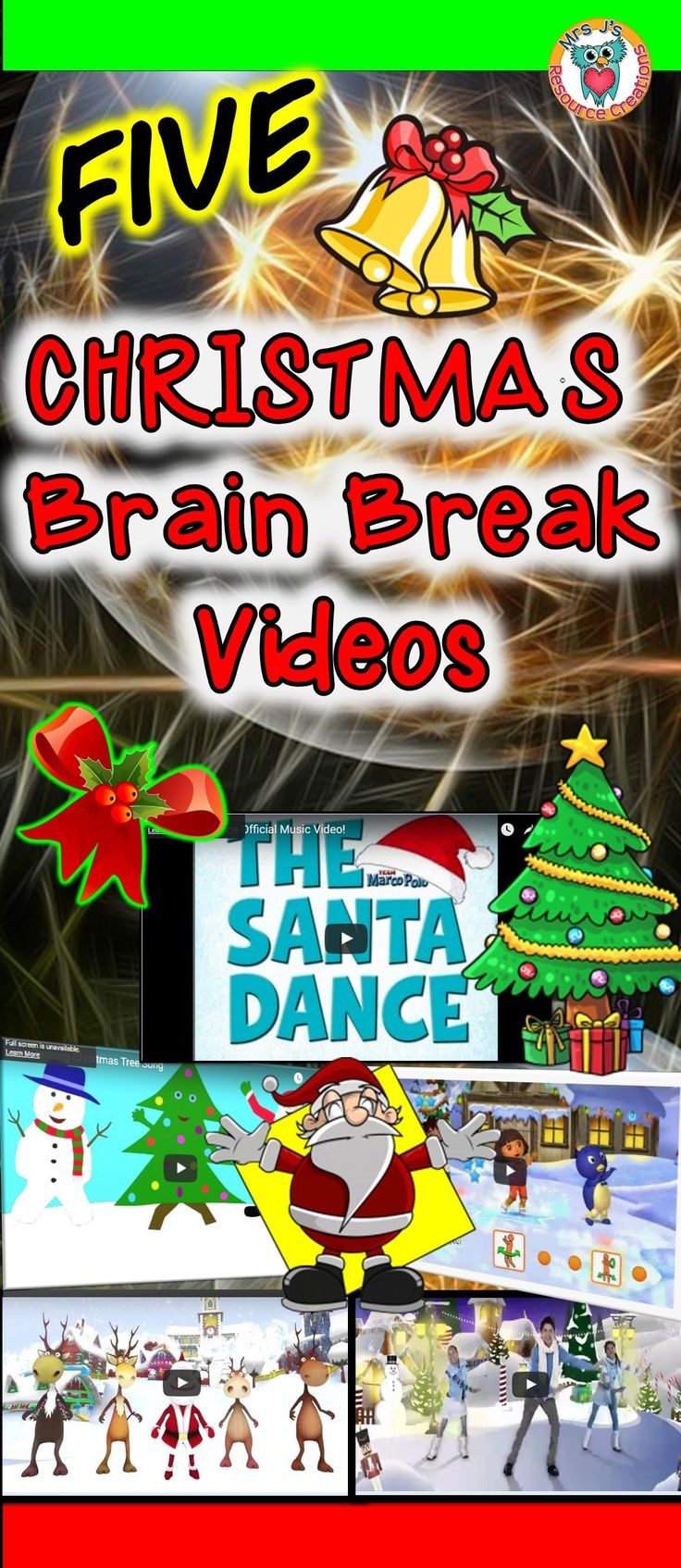 Christmas Brain Breaks This would be a great transition so students have to put away the last subjects stuff and take out the next subjects stuff and then they can dance along