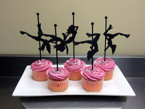 6 Fimo Pole Dancer Cupcake Toppers by WWCinc on Etsy 4500 – Pole Party Invitations