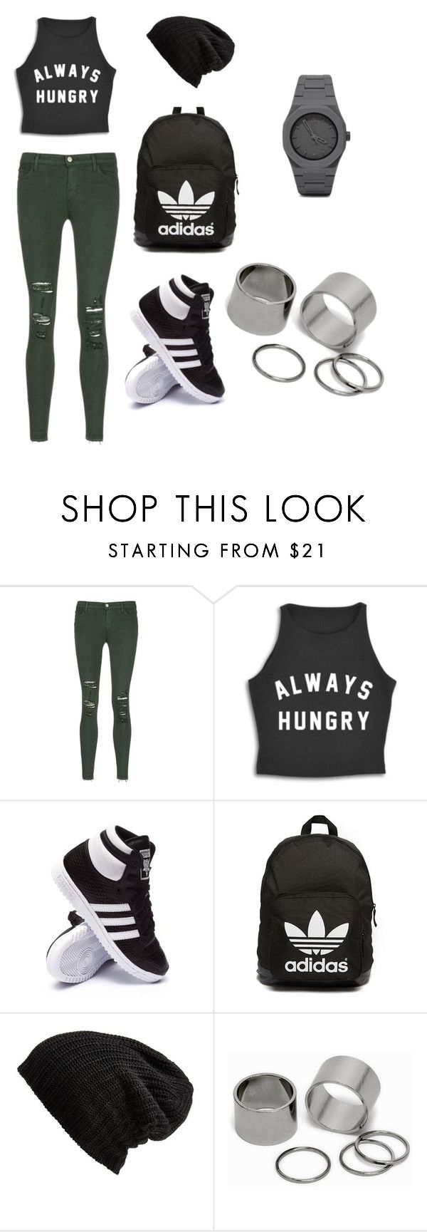 """""""Kathrin's casual day"""" by barabait ❤ liked on Polyvore featuring J Brand, adidas, adidas Originals, Free People, Pieces and CC"""