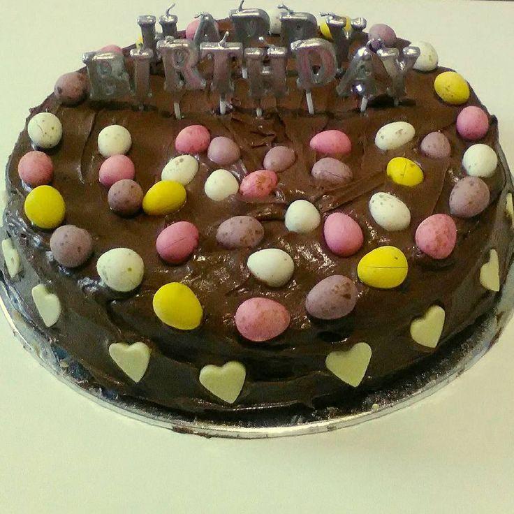 As well as working on @bookstagramwiz I also managed to make a pretty sweet birthday cake today!  #birthdaycake #chocolatemudcake #happybirthday #cake #foodstagram #cakestagram #cadburyminieggs #yum