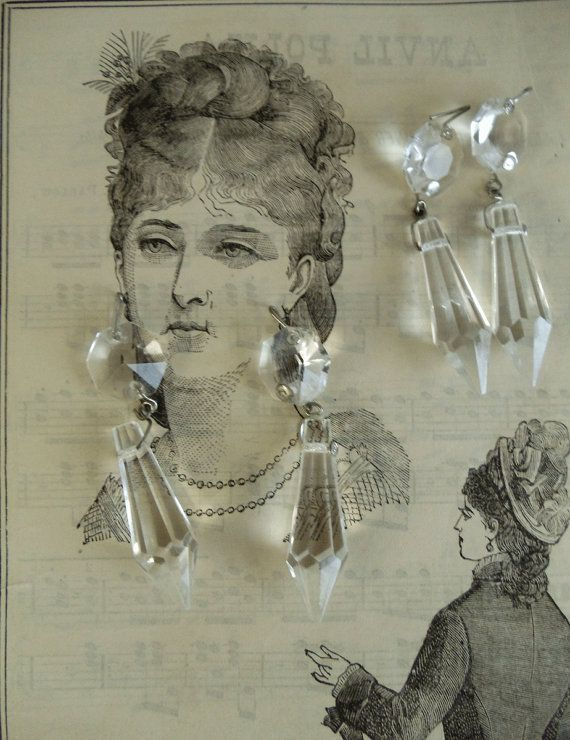 4 vintage chandelier crystals with chunky prisms matching sets create your own earrings necklace