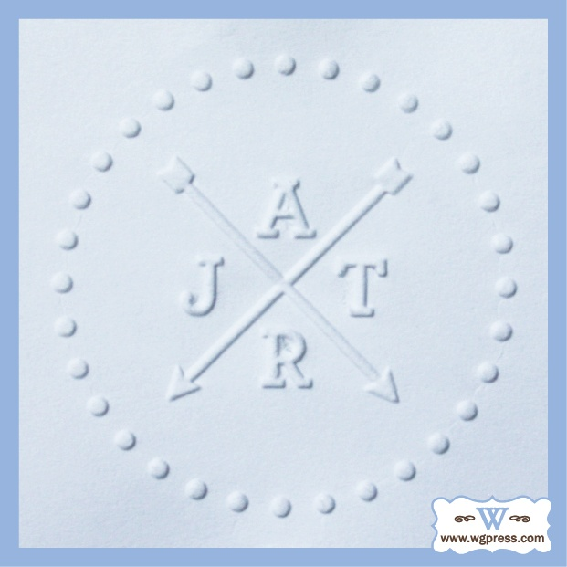 Embossed Arrow Monogram Created With A Custom Desktop Embosser From Www Wgpress