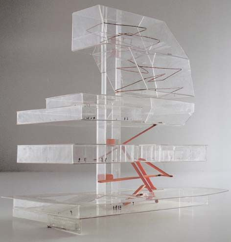 oma models. Example of a system diagram, highlighting main circulation system between  floors as a mass and its complexity at higher levels.