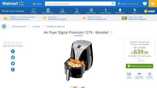 [Wal-Mart] Air Fryer Digital Premium 127V - Mondial 1932835 por R$ 639,90