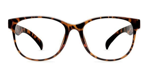Enhance your style with these tortoise eyeglasses. This full plastic frame comes in a semi-transparent tortoiseshell finish throughout. Exaggerated rounded square shaped lenses and bold temples create a look that is flattering for both men and women. @EyeBuyDirect