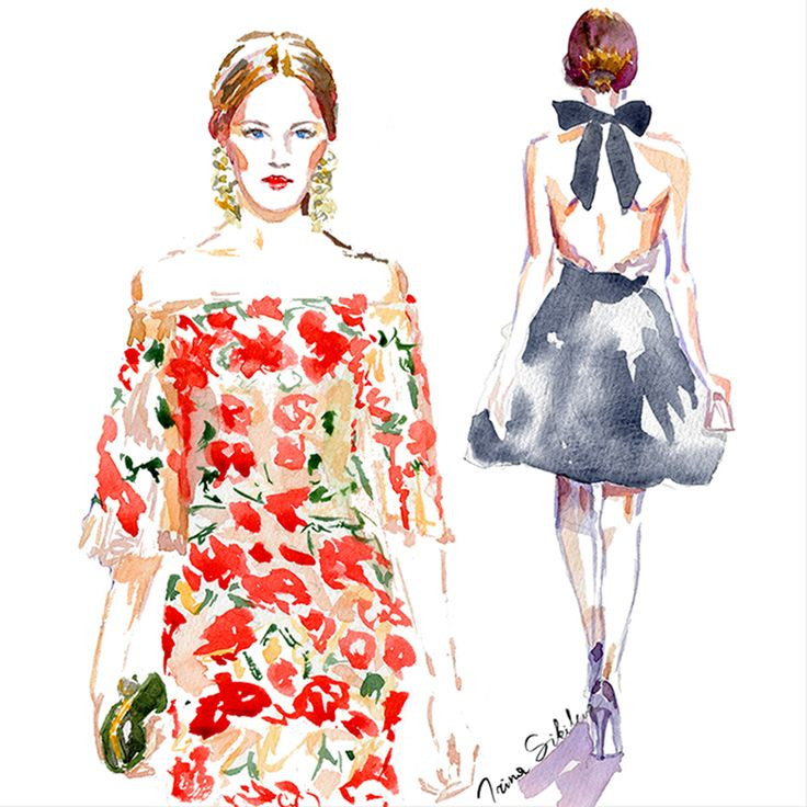 Marchesa illustration by Irina Sibileva  #Marchesa #fashionillustrator #IrinaSibileva #IrinaSibilevaDraws
