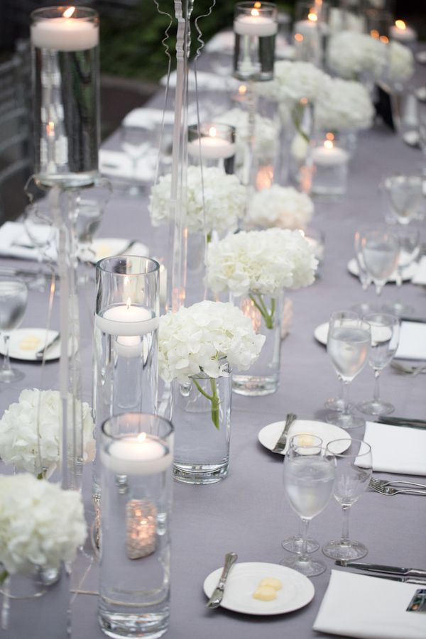 91 best silver and white 50th birthday images on pinterest for Elegant table centerpieces