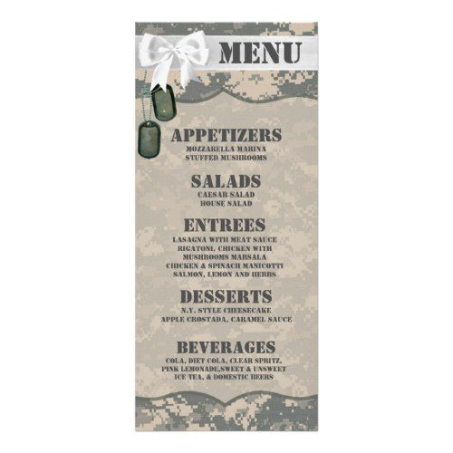 Camo Wedding Menu 25 Menu Cards ARMY ACU Uniform Camo Camouflage Dig