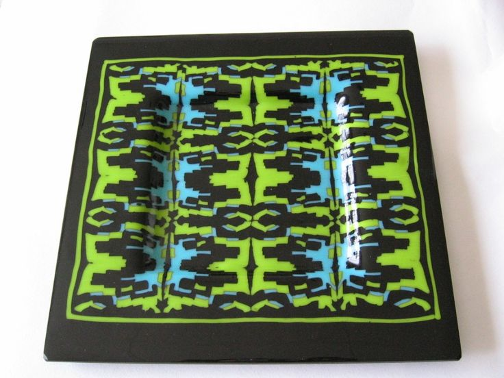 Black, turquoise and lime fused glass