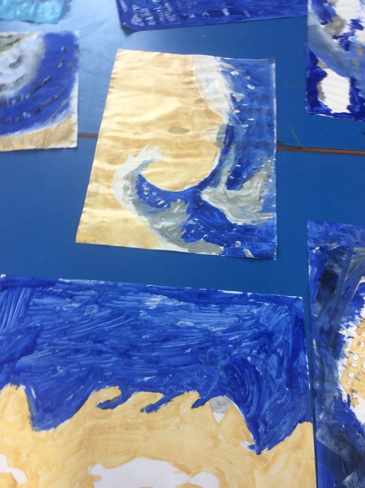 Kensukes Kingdom art work. Based on Hokusai's 'the Great Wave' which was the bases for the book cover. Children were given only 5 colours to re-create. Black, silver, gold, white and dark blue.